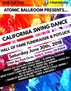 California Swing Dance Hall of Fame Fundraising Dance @ ATOMIC Ballroom | Irvine | California | United States